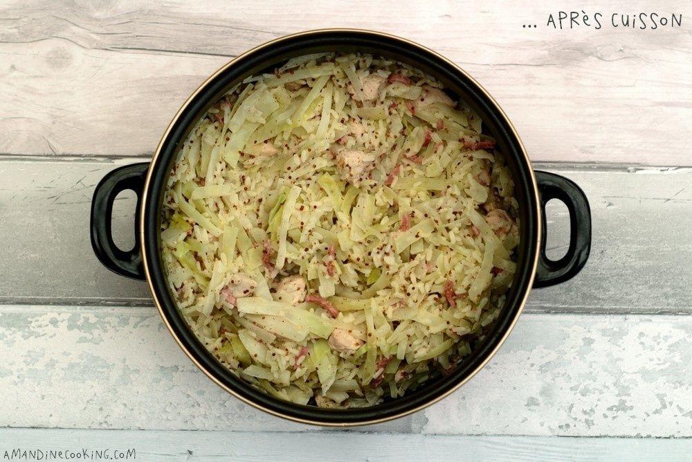 One pot riz, dinde, bacon, chou et sauce cremeuse a la moutarde -