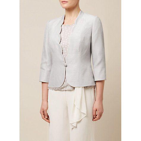 Buy Jacques Vert Contrast Trim Sculptured Jacket, Light Grey Online at johnlewis.com