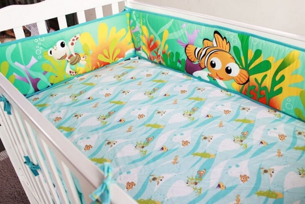 Ocean Blue 6 Piece Baby Toddler Cot Bedding Set Cotton Sheet Cot Bumper