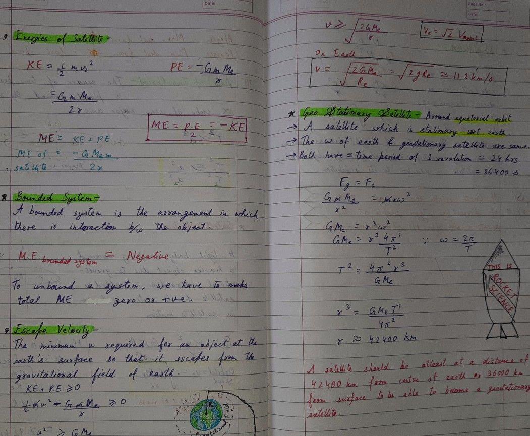 Satellite Motion Handwritten Notes Physics Gravitation