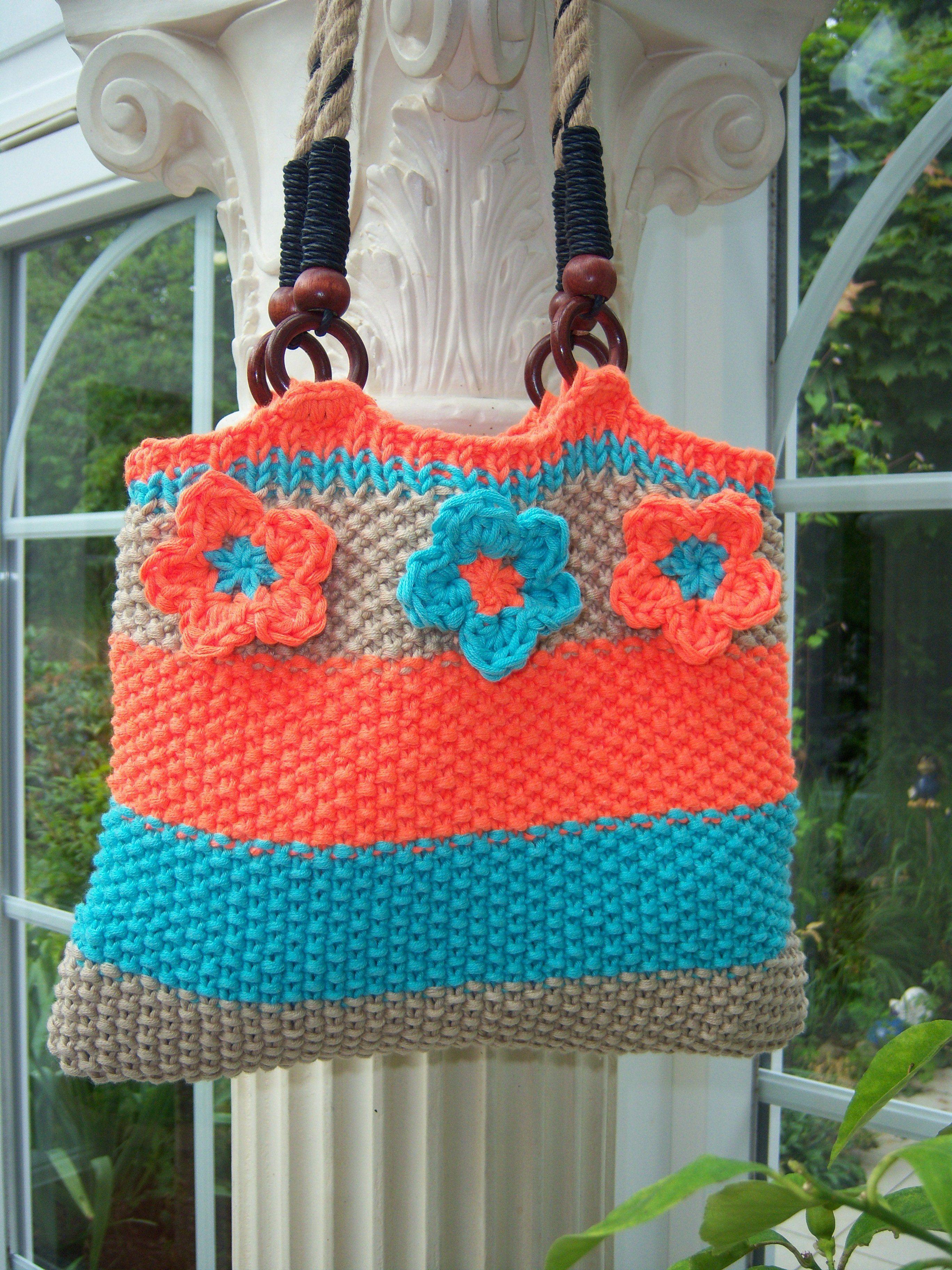 Gestrickte Tasche im Perlmuster Design: Gerlinde Gebert Shop: www.gebert-handarbeiten.de