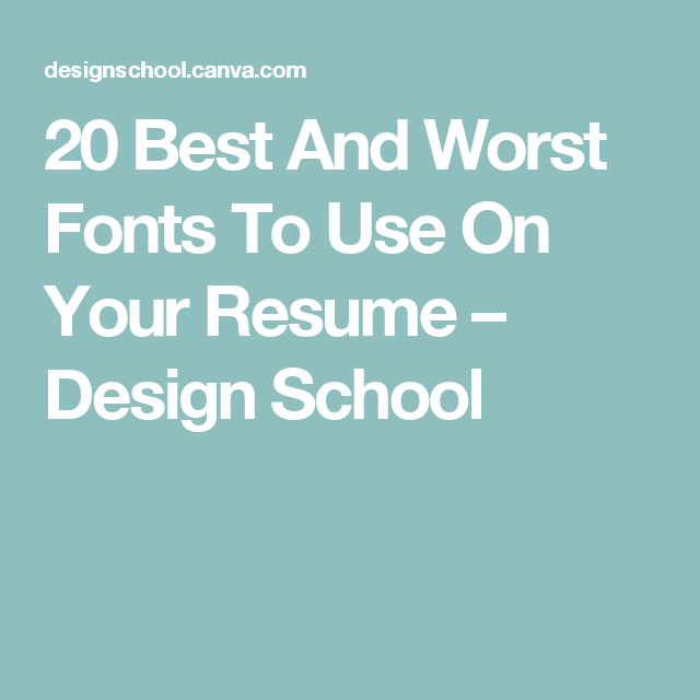 fonts in resumes