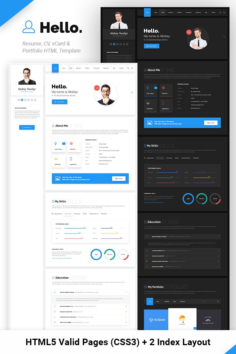 hello resume cv vcard portfolio website template