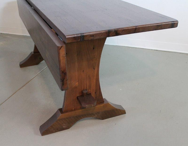Custom Drop Leaf Trestle Base Dining Room Table Farmhouse