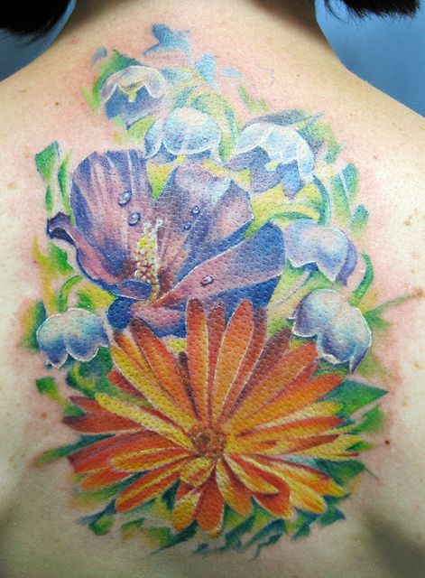floral tattoo calendula water lilies and tattoo. Black Bedroom Furniture Sets. Home Design Ideas