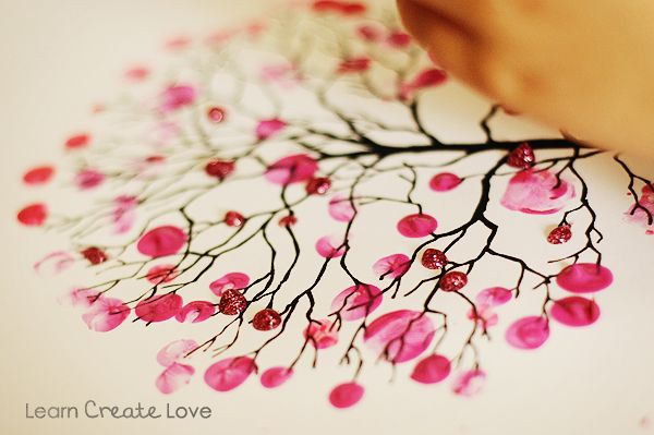 Fingerprint Cherry Blossom Tree Cherry Blossom Art Spring Crafts For Kids Cherry Blossom Tree