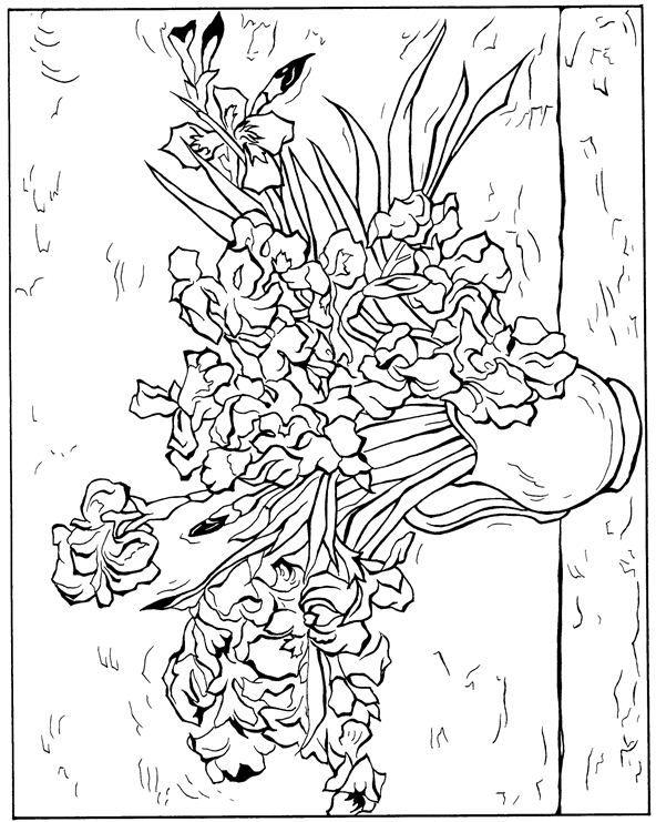 Van Gogh Coloring Pages Coloring Rocks Van Gogh Coloring Van Gogh Irises Coloring Pages