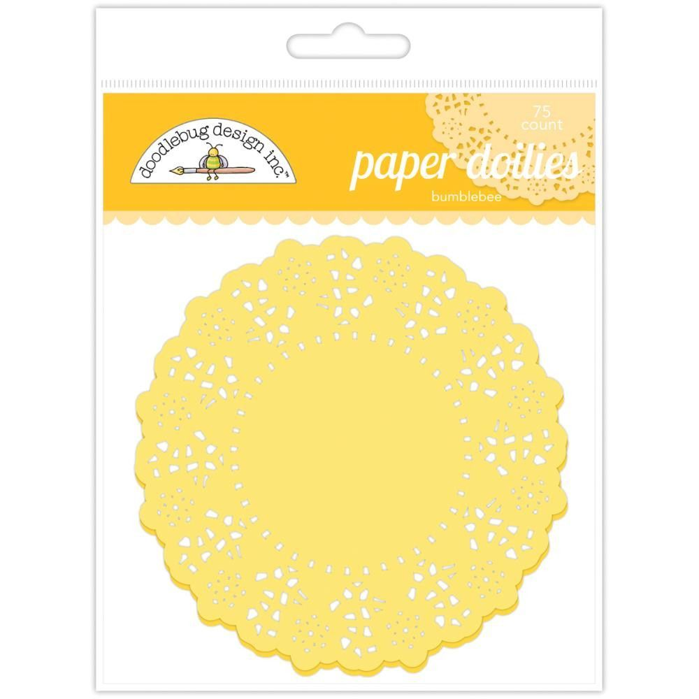 Doodlebug designs bumblebee yellow paper doilies inch set of