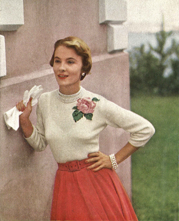 Rose Sweater • 1950s Knitting Engagement Top Jumper • 50s Vintage ...