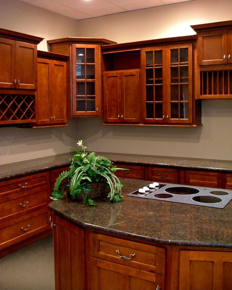 Transitional Kitchen- Natural Cherry Wood Cabinets With A Black