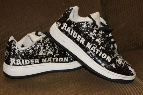 6f0ef613422 RARE Oakland Raiders Reebok Shoes Raider Nation Size Men s 7 Black White