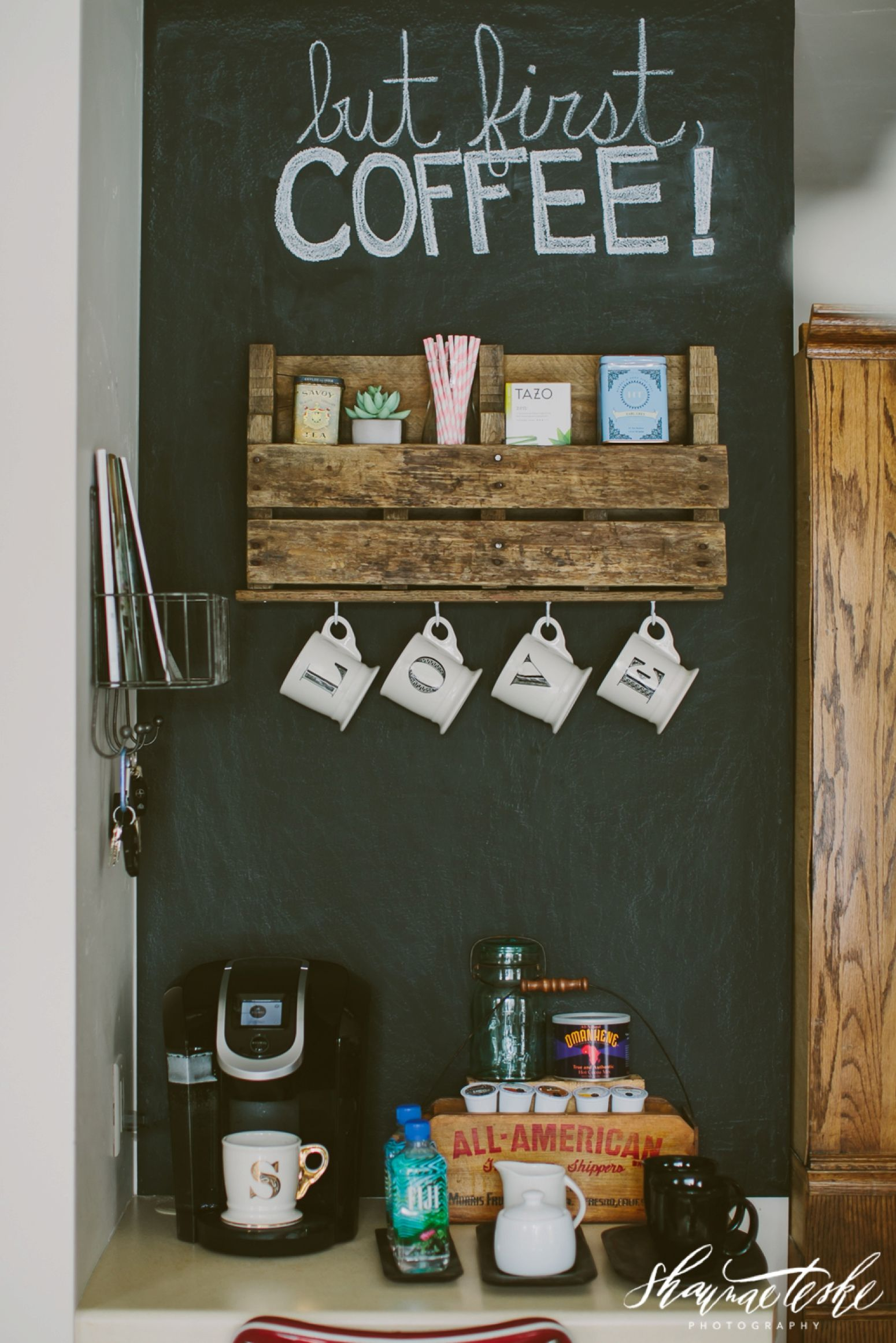 Create a diy coffee bar with pallet shelves and a for Coffee bar decor