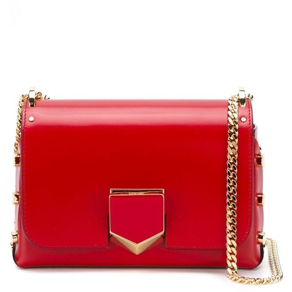 Jimmy Choo 'Locket petite' bag (9,260 CNY) ❤ liked on Polyvore featuring bags, handbags, red, red bags, chain strap purse, chain handle handbags, red handbags and hardware bag