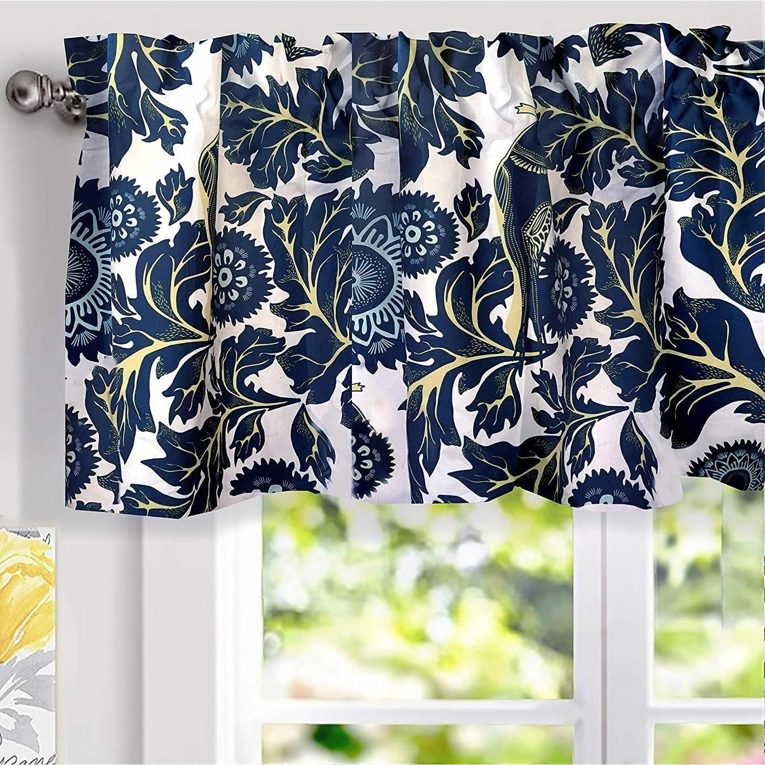 Porch Den Alexis Floral Thermal Insulated Window Valance Navy Blue 100 Polyester Roomdarkeningcurtains Valances For Living Room Valance Window Valance
