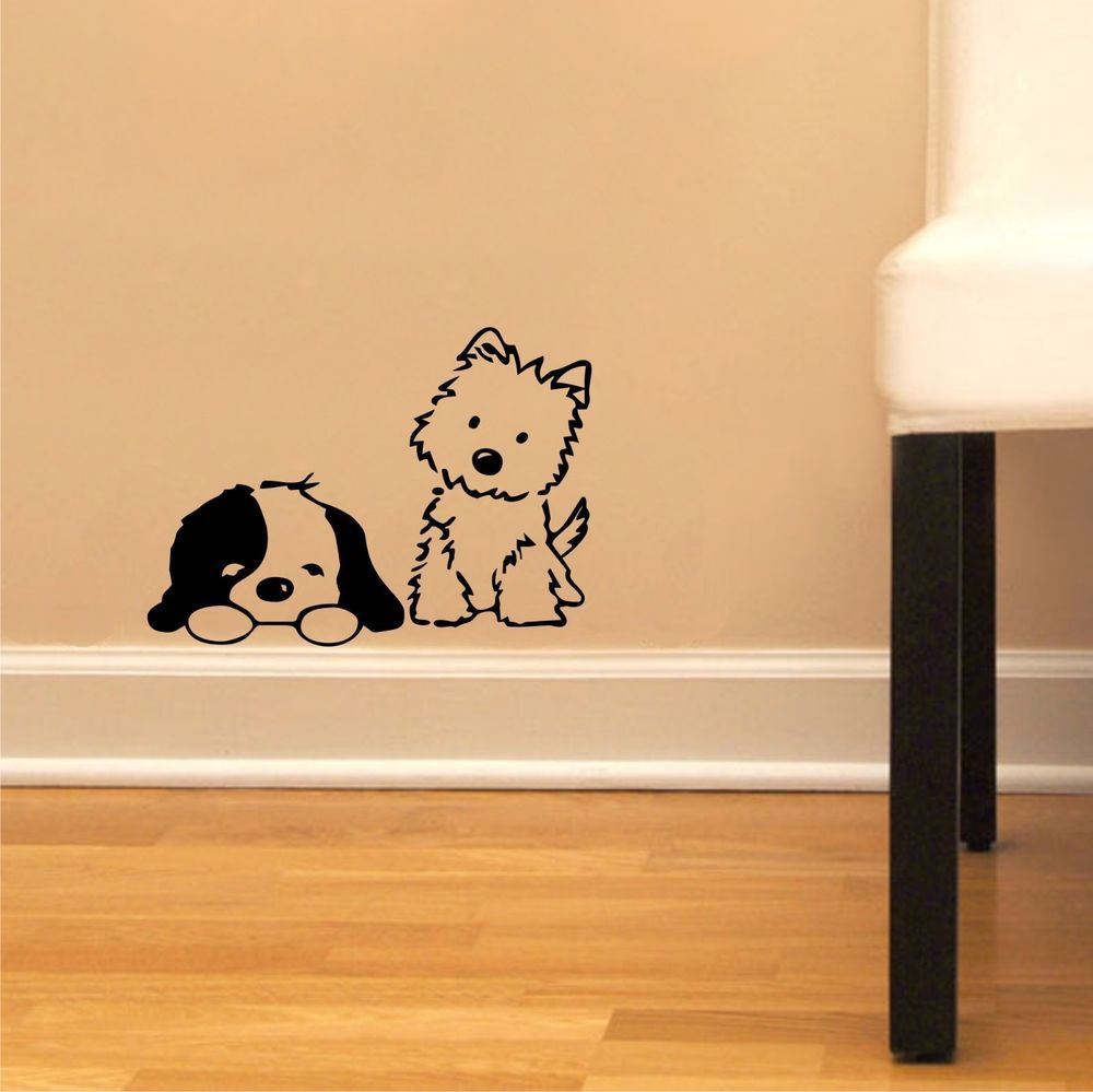 Cute Puppies - Dogs Children Decor Vinyl Sticker Wall Decal Kids ...