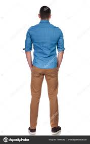 Back View Young Relaxed Casual Man Standing White Background Hands Stock Photo C Feedough 238868262 Casual Men Casual Man Standing