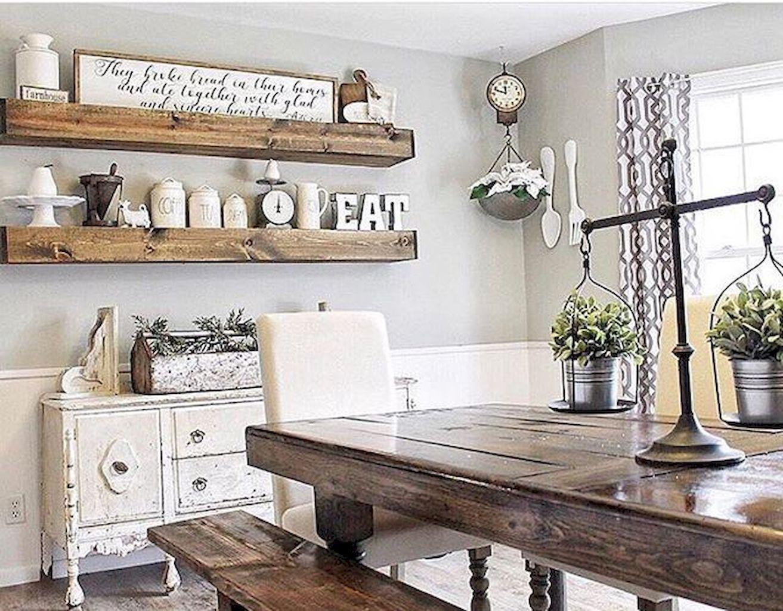 Awesome 90 Modern Farmhouse Dining Room Decor Ideas https ... on Dining Room Curtains Farmhouse  id=17992