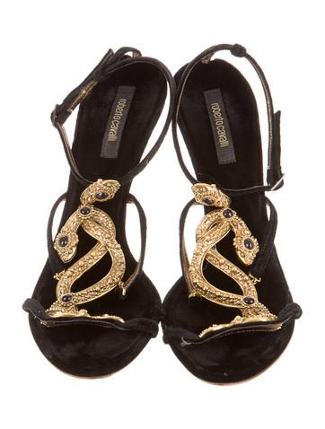 buy cheap finishline Roberto Cavalli Velvet Embellished Sandals cheap discount free shipping fashion Style newest cheap online N2gFpNd
