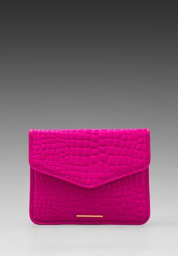 afc435b184fa MARC BY MARC JACOBS In a Bind Neoprene Croc Embossed Tablet Envelope Clutch  in Pop Pink - Pink