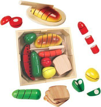 Melissa and Doug Cutting Food Box Play Set by Melissa and Doug. $25.12. Play Food. This Melissa and Doug Cutting Food Box Play Set includes more than 25 pieces including one child-safe knife and one cutting board, along with eight healthy choice selections for kids to prepare their own meals. The knives glide easily through each item, making a realistic crunching sound that kids love. Once cut apart, kids will enjoy reattaching the disassembled pieces and starting all over. ...