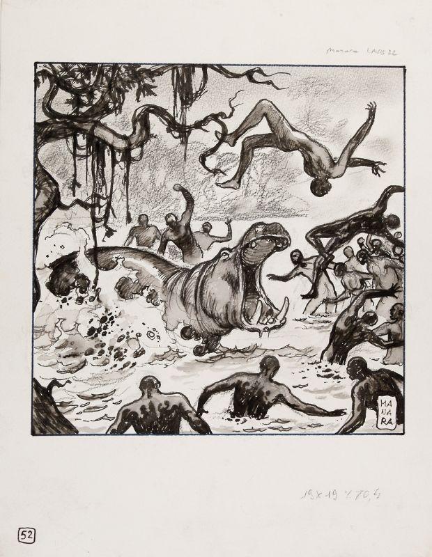 MANARA - Belle illustration à l'encre de chine et au lavis représentant une scène de combat contre un hippopotame