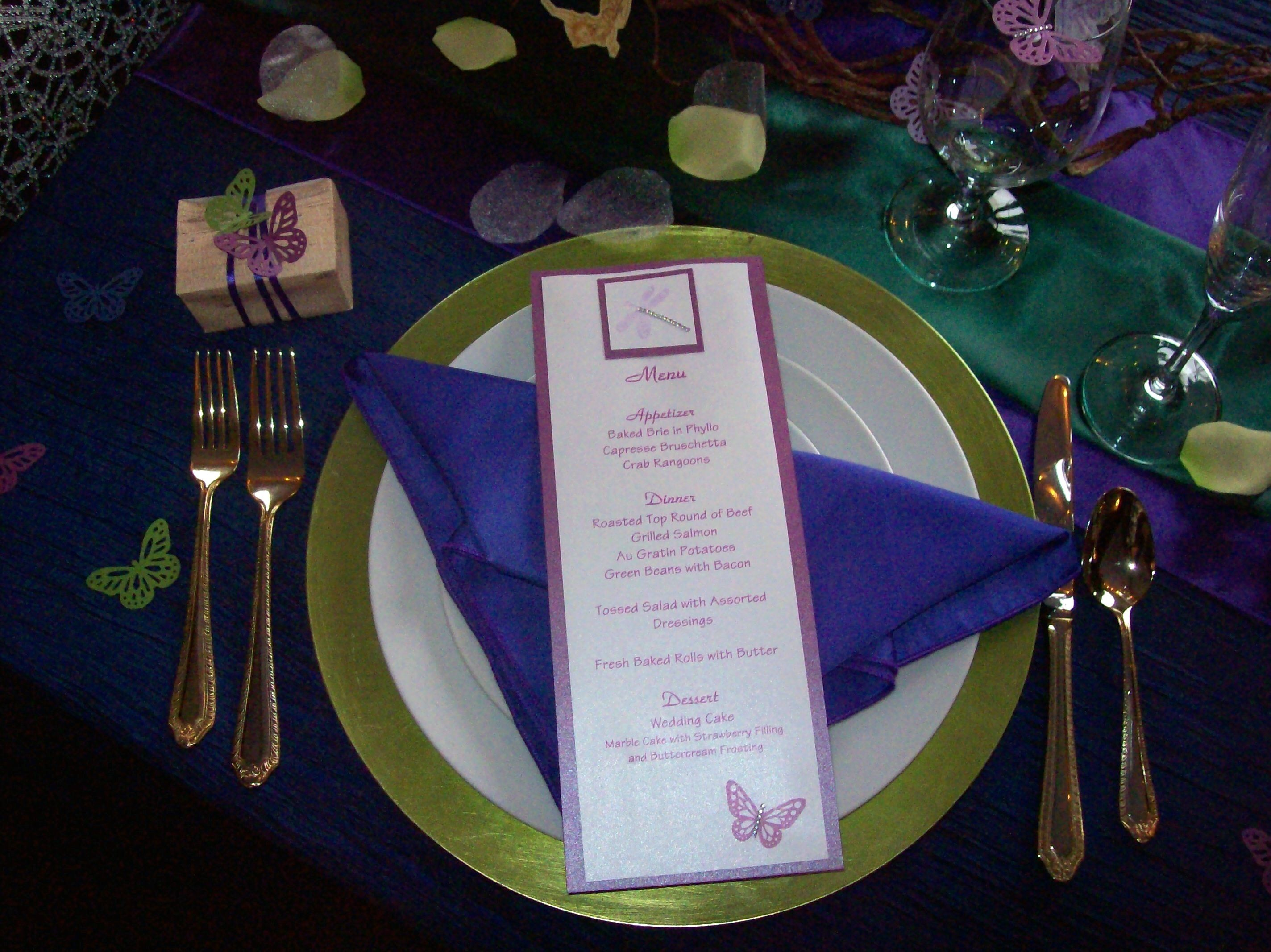 Butterfly themed menu card and table decor menu card