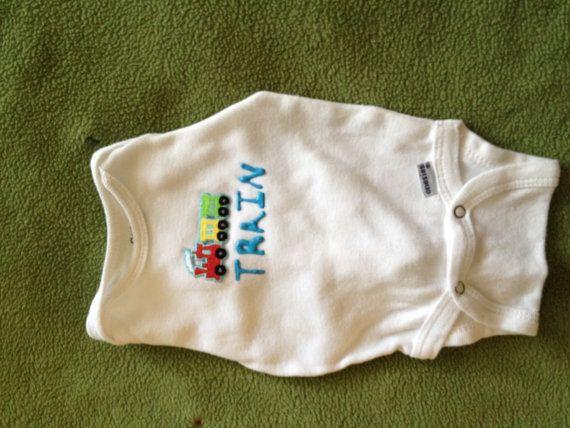 Newborn Boy Onesie  Train by NitzAtions on Etsy, $5.00