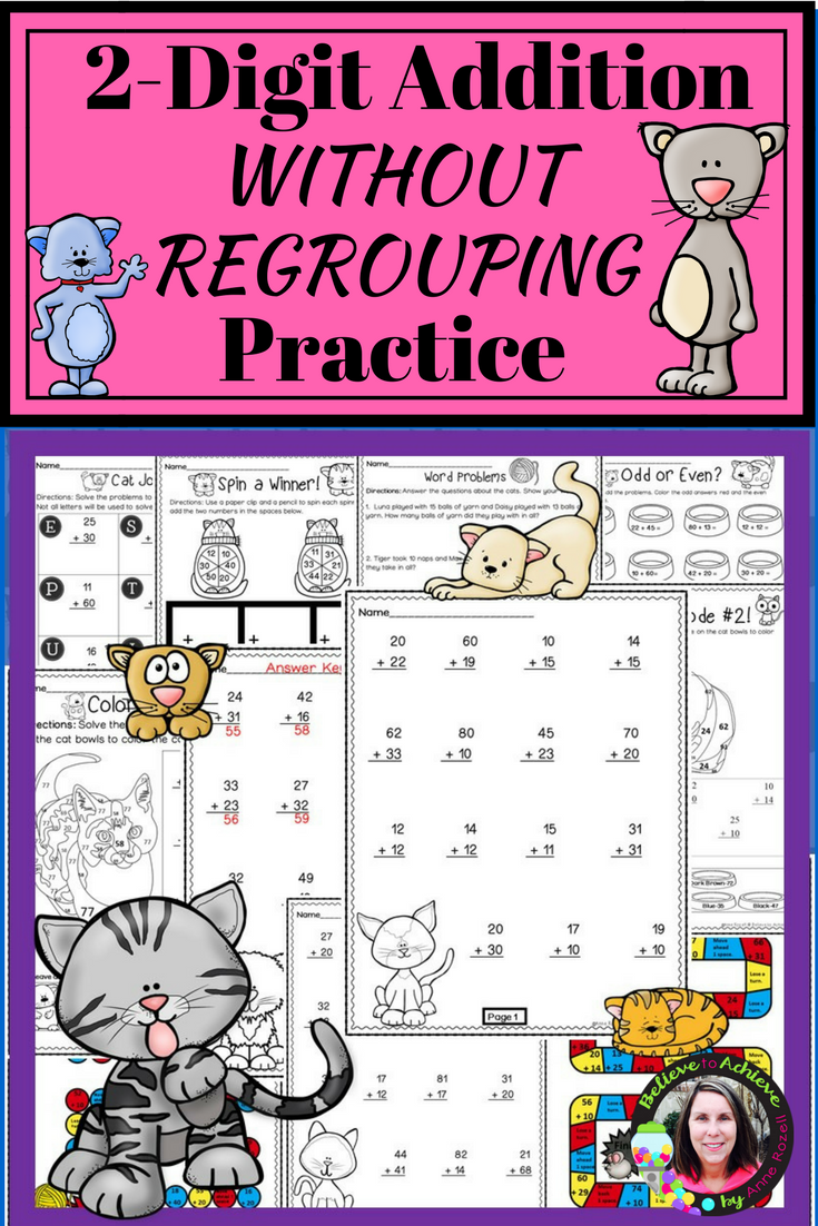 2 Digit Addition Without Regrouping Worksheets Cat Theme Word Problems Teaching Math First Grade Math [ 1102 x 735 Pixel ]