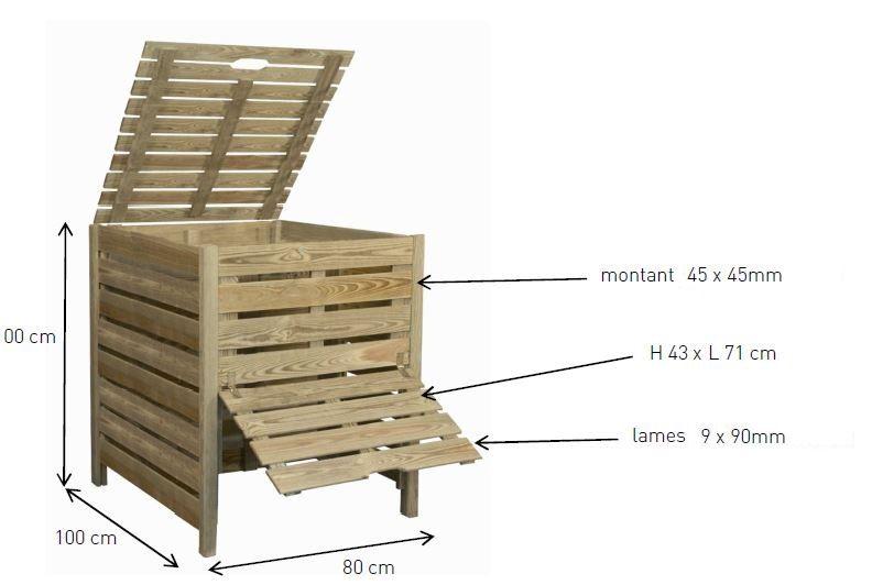 dimensions composteur 800 l balcony garden indoor garden garden ideas pinterest compost. Black Bedroom Furniture Sets. Home Design Ideas