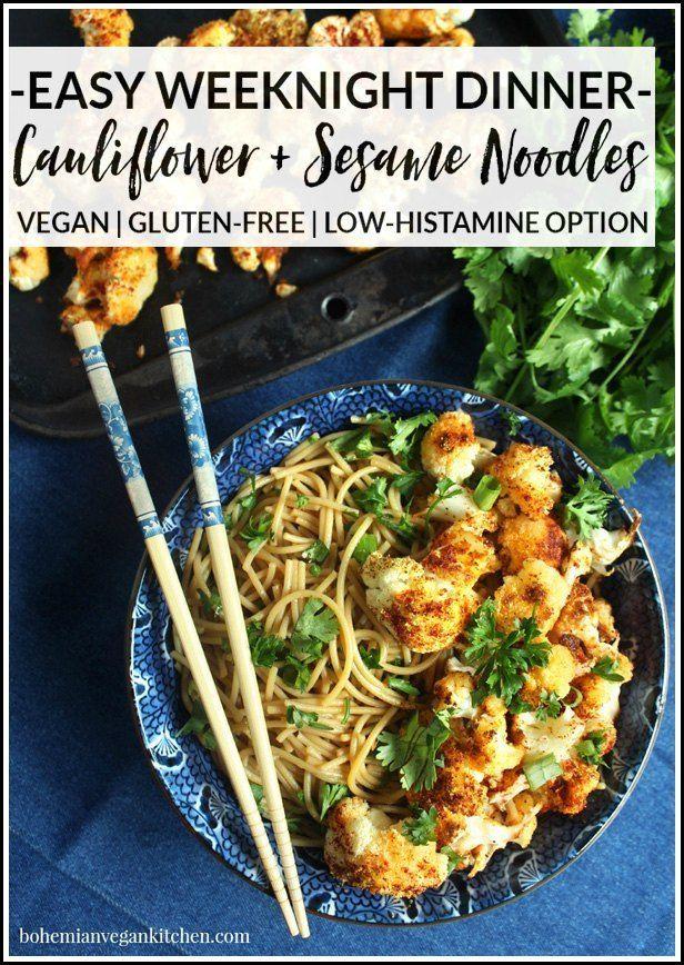 Easy Vegan Weeknight Dinner Roasted Cauliflower Gf Sesame Noodles