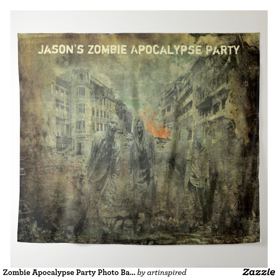 Zombie Apocalypse Party Photo Backdrop Wall Prop | Zazzle.com #zombieapocalypseparty
