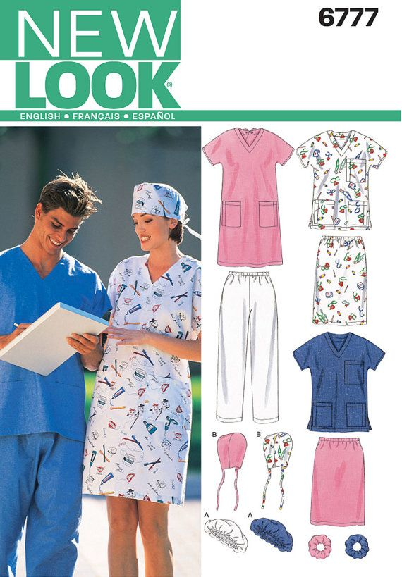 New Look 6777 Scrubs Top Surgical Cap Skirt Hats Uncut Sizes S Etsy Scrubs Pattern Dress Sewing Patterns Sewing Patterns