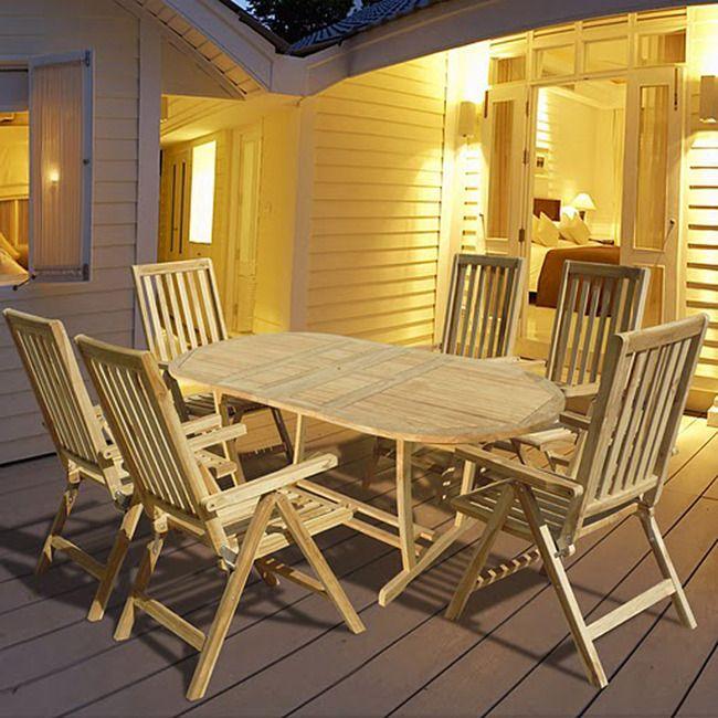 Sarane V48SET48 Premium Teak Oval Table Teak Reclining Chair Simple Dining Room Table Settings Exterior