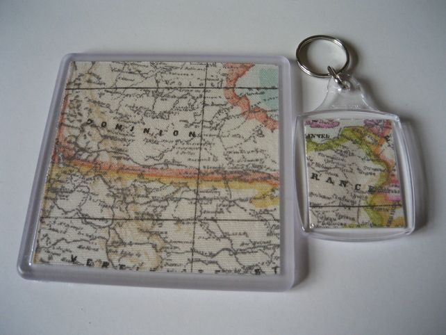 Linen fabric featuring vintage world map coaster and matching key linen fabric featuring vintage world map coaster and matching key ring 400 gumiabroncs Gallery