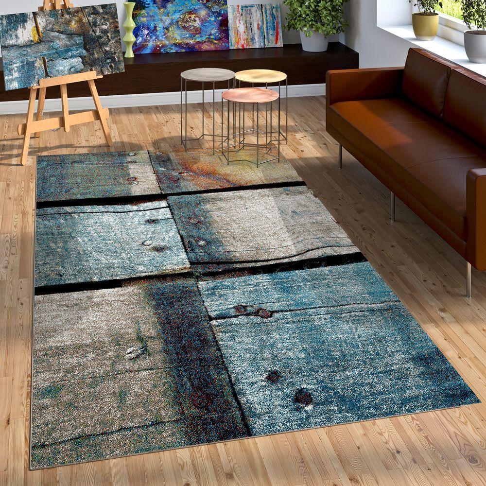 Teppich Holz Optik Blau Grau Rost Inspiration Industrial