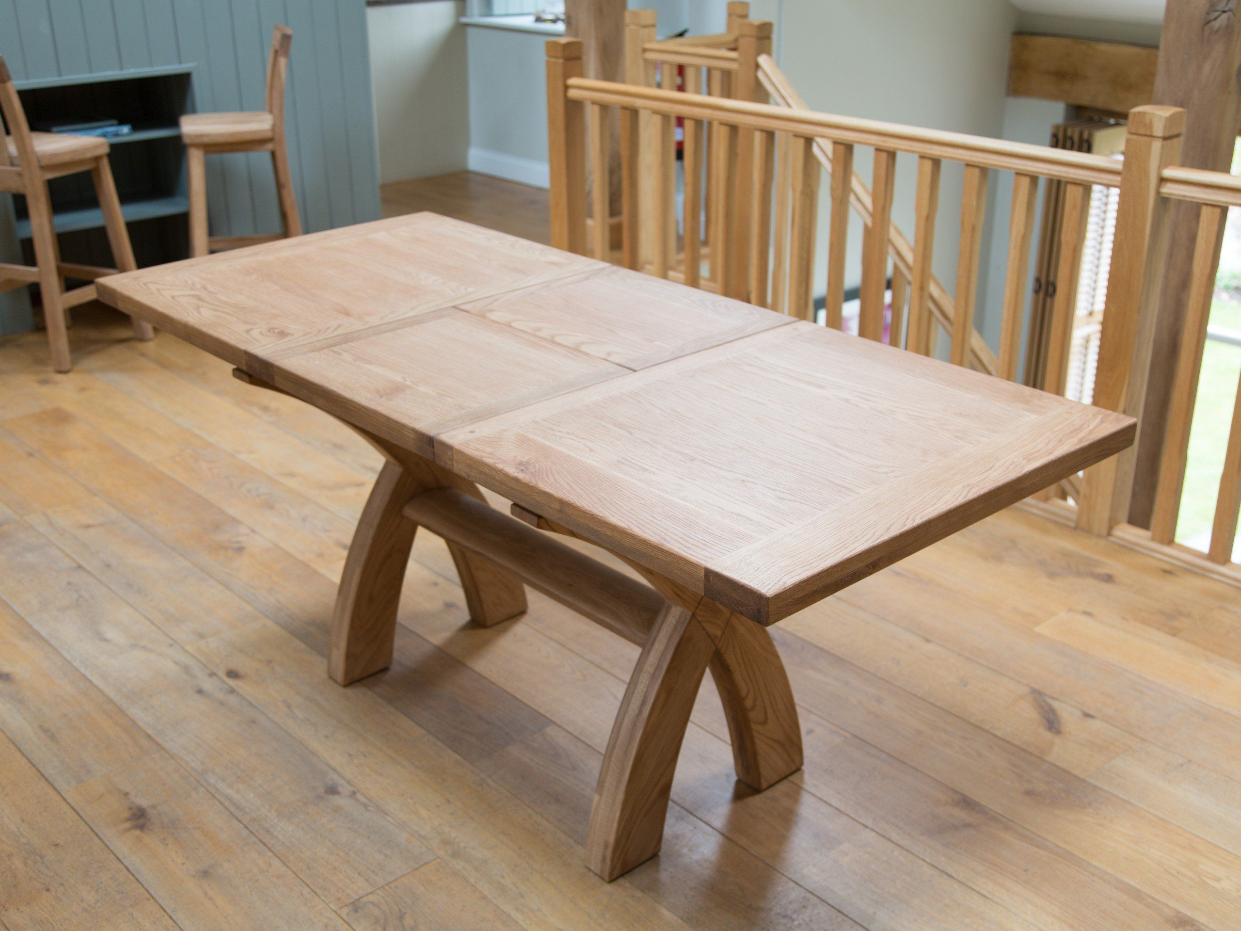 Extending To Country Oak X Leg Dining Table Square Ended