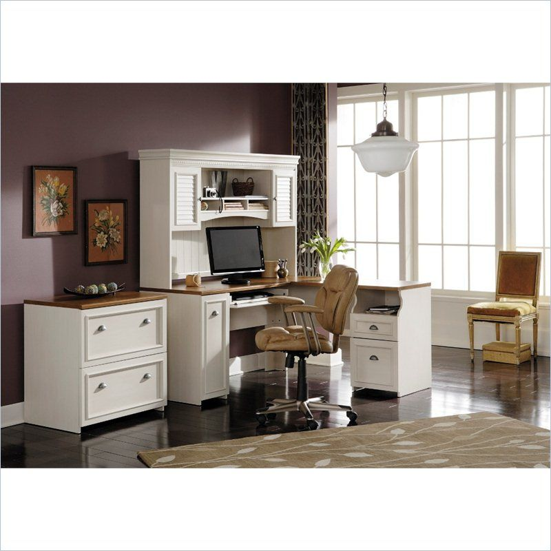 Fairview l shaped desk with hutch and lateral file