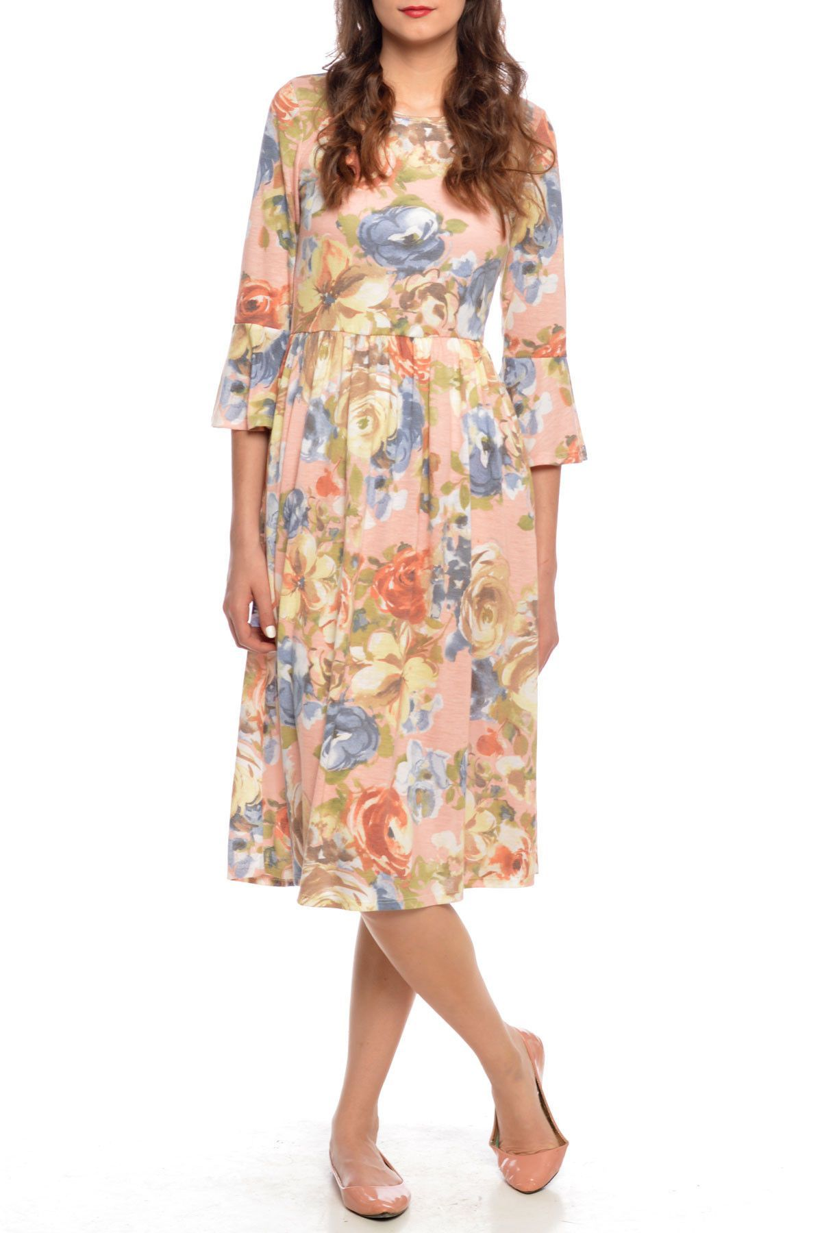 Watercolor Floral Dress in Peach