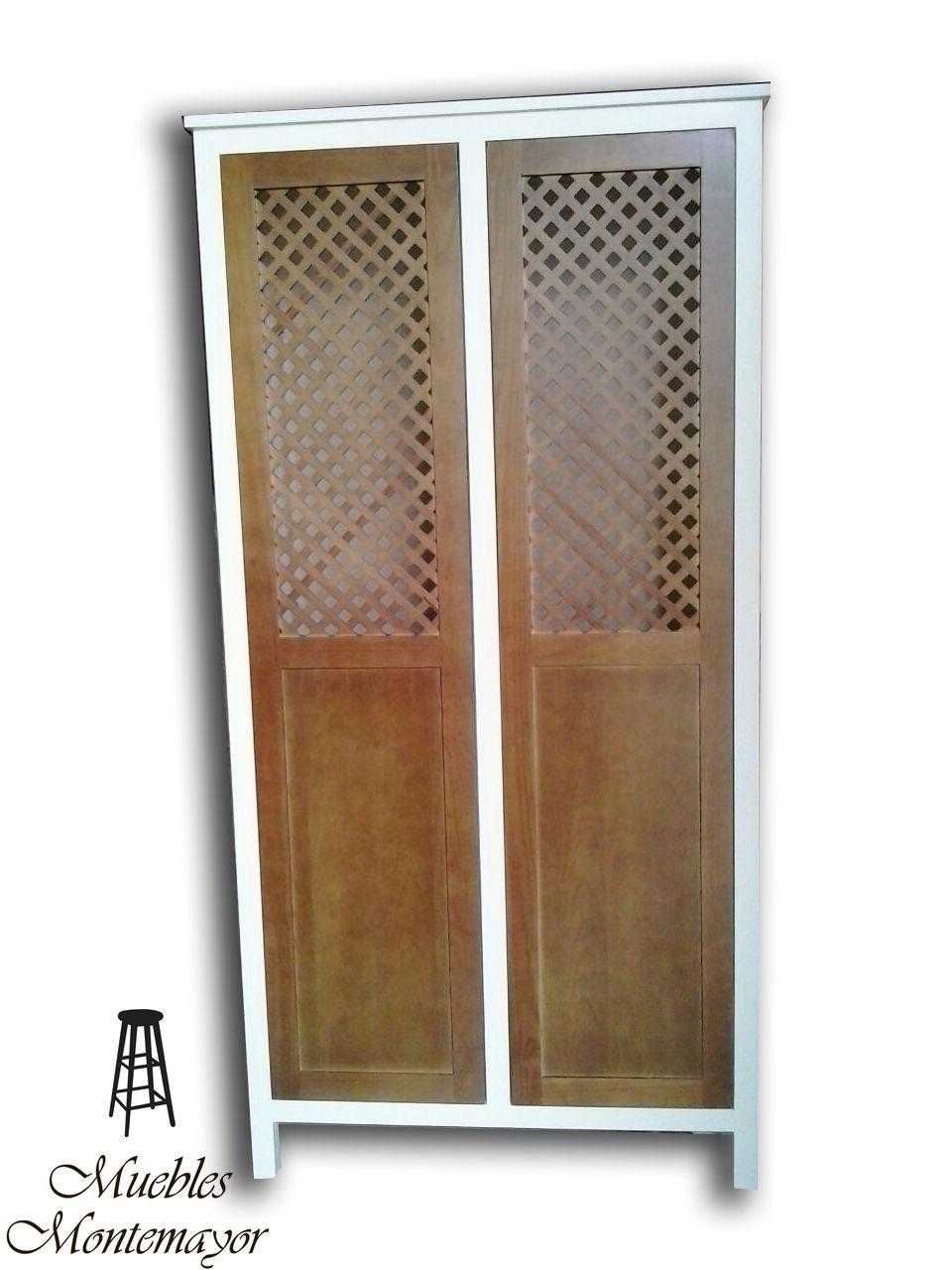 Armario Personalizado Con Puertas De Celosia Tintadas Y Conjunto  # Muebles Lacados En Blanco Baratos