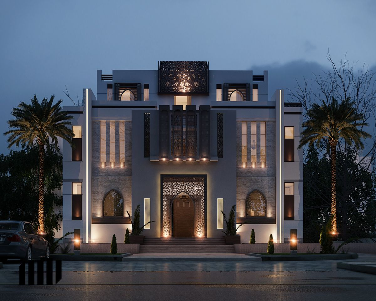 Islamic Villa Uae On Behance Modern Architecture Building Classic House Exterior Modern Architecture House