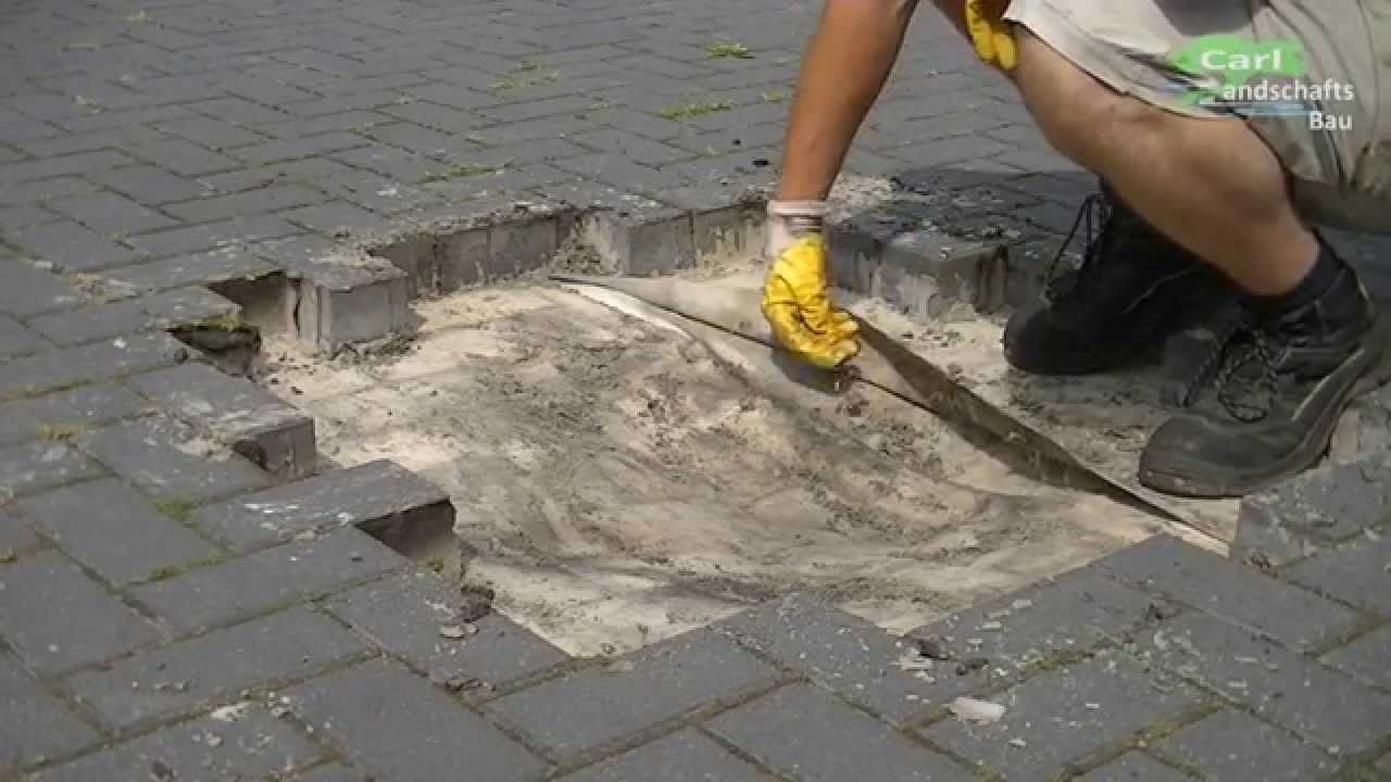 abgesacktes pflaster reparieren+betonrohr flicken | steine legen