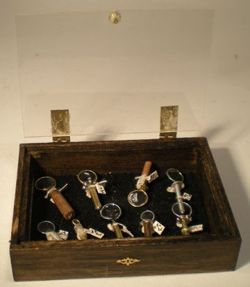 Filled Magnifing Glass Display by Debra Jackson - $169.00 : Swan House Miniatures, Artisan Miniatures for Dollhouses and Roomboxes