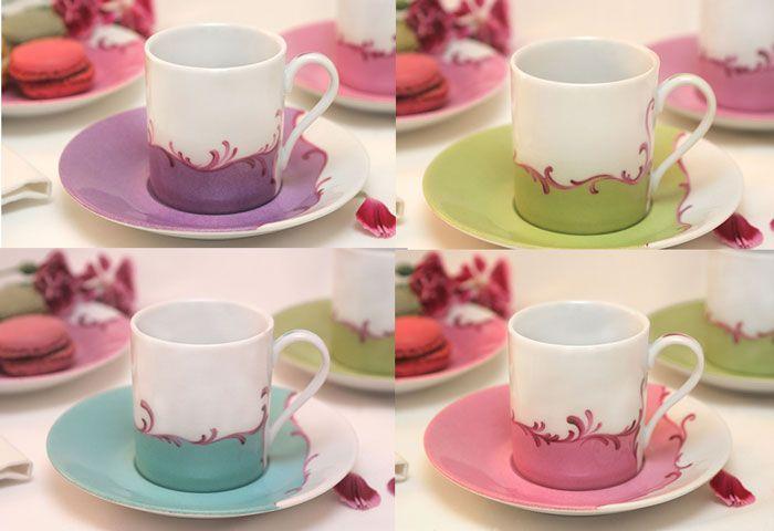 4 Cups Spring Color Color Spring Pintura Em Porcelanas Pratos De Ceramica Xicaras De Porcelana