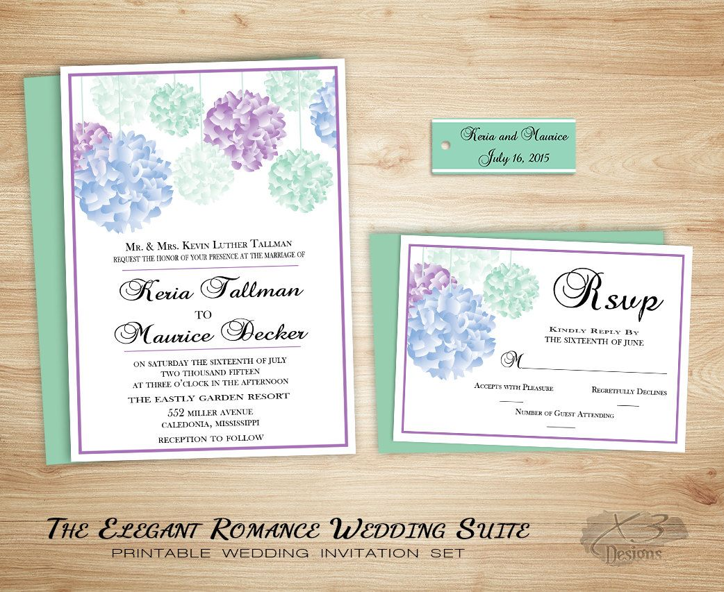 shabby chic wedding invitation suite printable romantic wedding