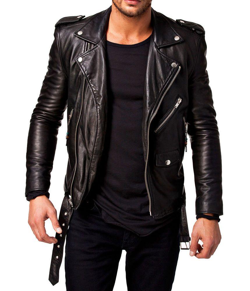 Men/'s Genuine Sheepskin Leather Jacket Black Slim fit Biker Motorcycle jacket