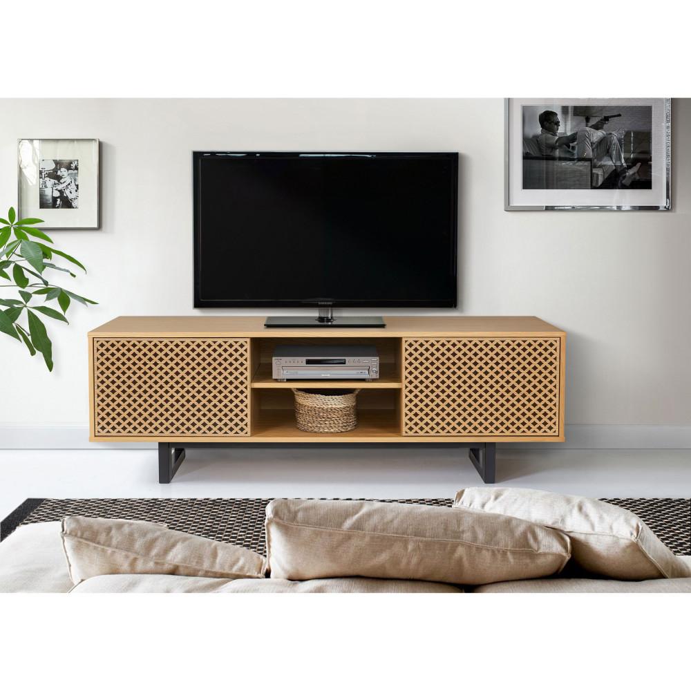 Meuble Tv Grande Taille meuble tv contemporain bois motifs géométriques woodman