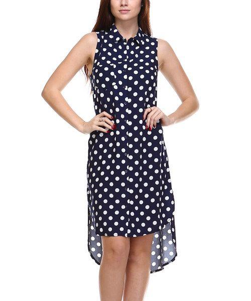 Look at this LeShop Navy & White Polka Dot Shirt Dress on #zulily today!