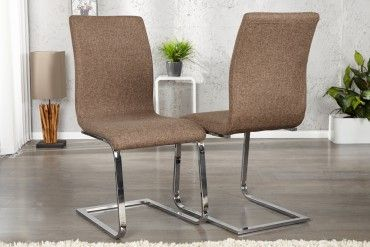 Stuhl Eleganter Design Freischwinger Hampton Strukturstoff Coffee ulTJFK1c3