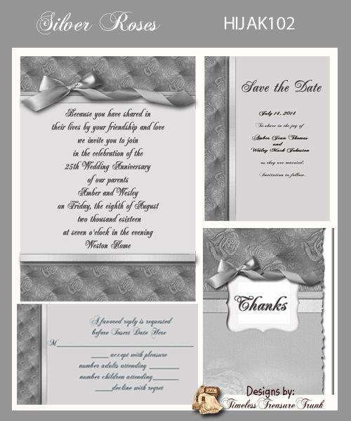 Silver anniversary invitation do it yourself wedding vow renewal silver anniversary invitation do it yourself solutioingenieria Images