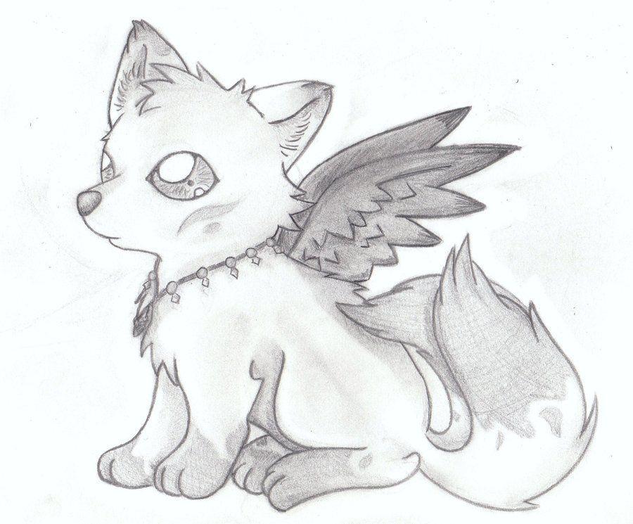 Cute Little Fox With Wings Cute Wolf Drawings Cute Drawings Animal Drawings
